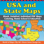 usa and state individual pdf maps
