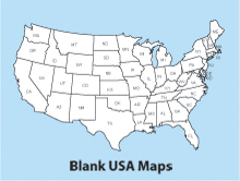 Blank, Printable, Outline USA Maps, America, US