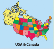 Usa And Canada Color Maps Clipart Download Maps