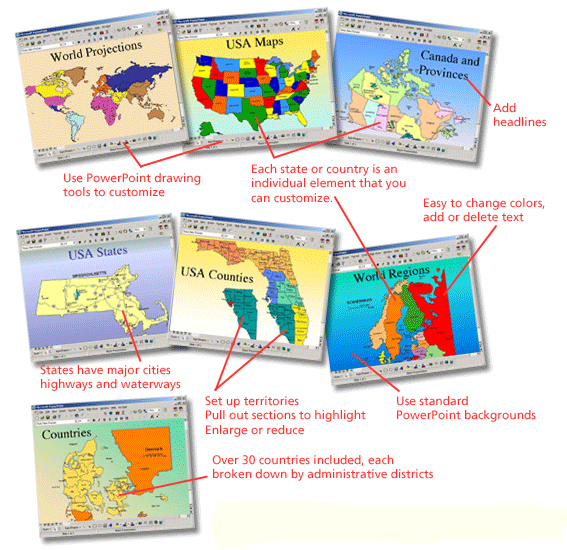 powerpoint editable maps, world, usa, states, county, countries, world projections, globes