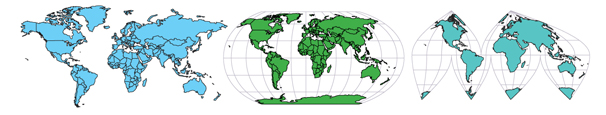 World Projections PowerPoint Editable Map