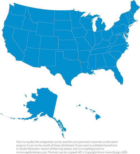 usa 50 state map blue color printable royalty free jpg