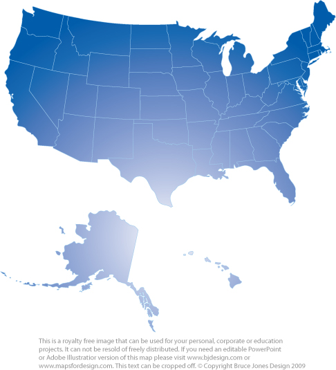 blank map of us and canada. USA State Map, Blue,