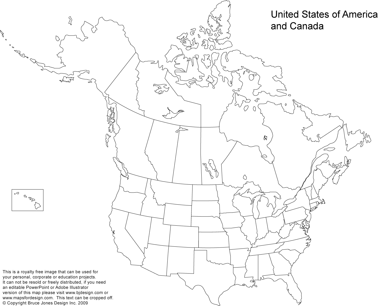Blank United States and Mexico Map
