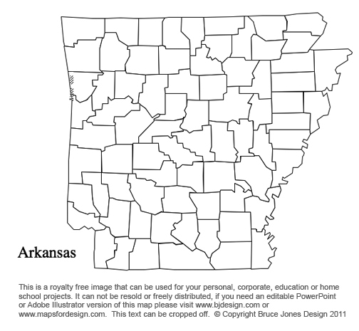 Alabama To Georgia US County Maps - Arkansas on a us map