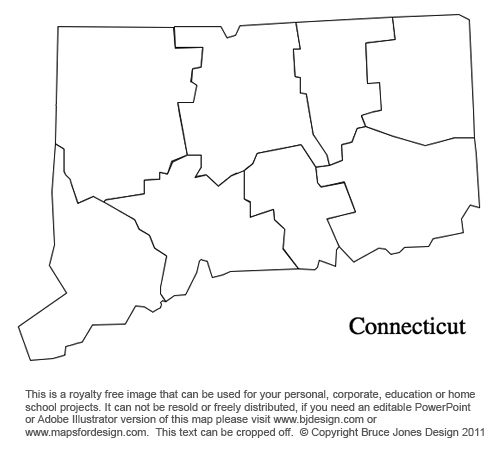 Connecticut Us State County Map Blank Printable Royalty Free For Presentations