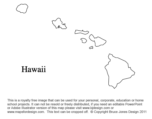 Hawaii Us State County Map Blank Printable Royalty Free Presentations