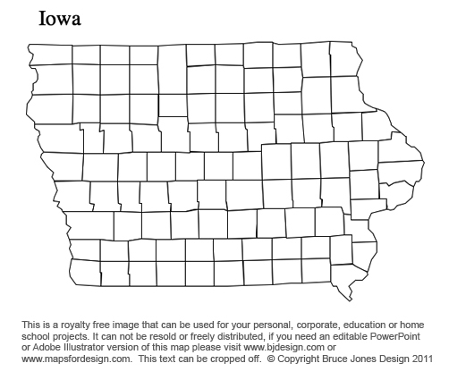 Iowa Us State County Map Printable Blank Royaty Free For Presentations
