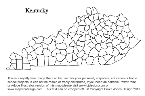 Kentucky Us State County Map Printable Blank Royalty Free For Presentations
