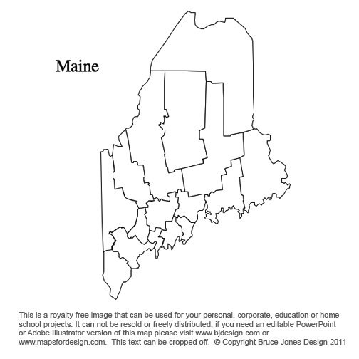 Hawaii To Maryland US County Maps - Maine county map
