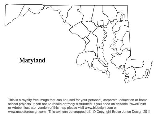 Printable Map Of Maryland Printable Maps - Maryland printable map