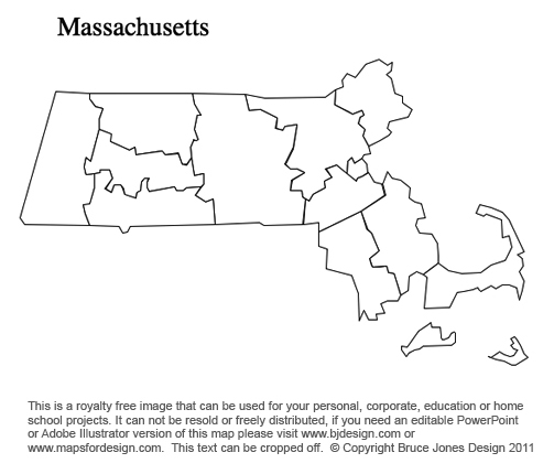 Machusetts Us State County Map Printable Blank Royalty Free For Presentations