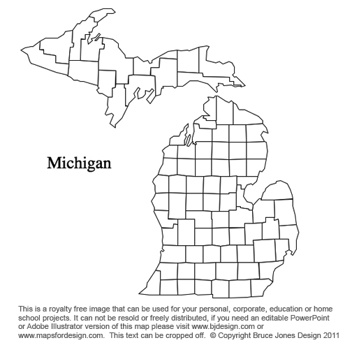 County Map Of Michigan Black - Michigan county map