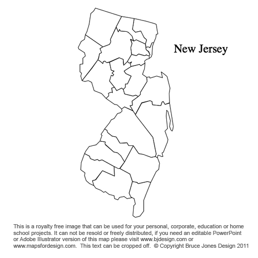 Massachusetts To New Jersey US County Maps - Us counties map blank