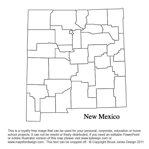 New Mexico to South Carolina US County Maps