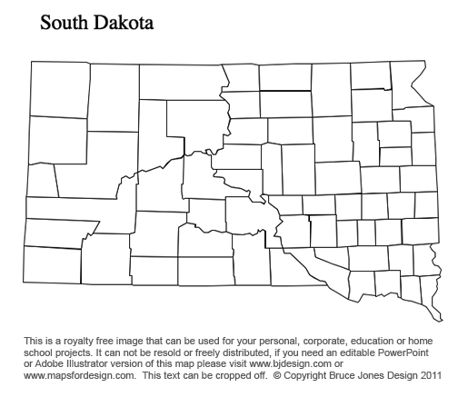 South Dakota To Wyoming US County Maps - Us map south printable