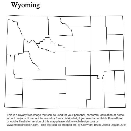 Wyoming US State County map, blank,printable, royalty free for presentations