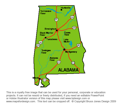 Alabama Montgomery, Royalty Free jpg map