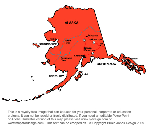 Alaska Juneau Royalty Free jpg map