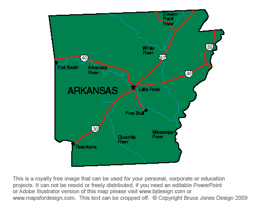 Arkansas, Little Rock, Royalty Free jpg map