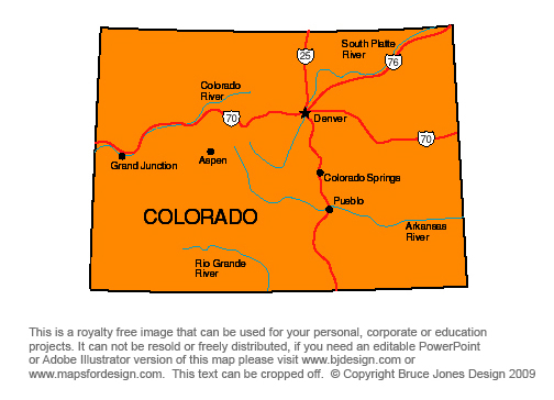Colorado, Denver Royalty Free jpg map