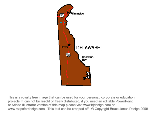 Delaware Dover, Royalty Free jpg map