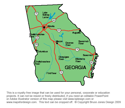US State Printable Maps Alabama To Georgia Royalty Free Clip Art - Us map ga