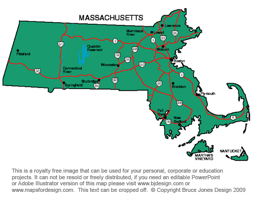 US State Printable Maps Massachusetts to New Jersey royalty Free