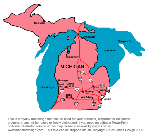 Michigan Lansing Royalty Free Jpg Map