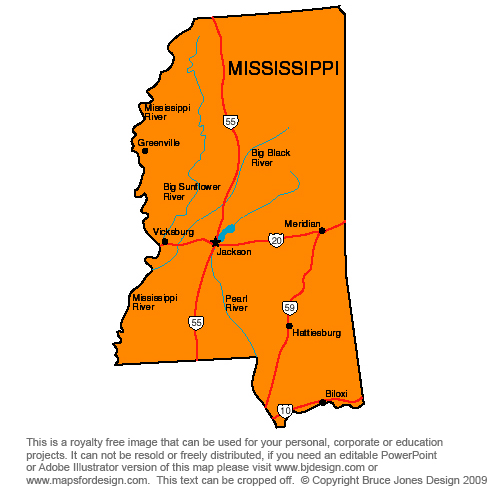 Blank Mississippi Map