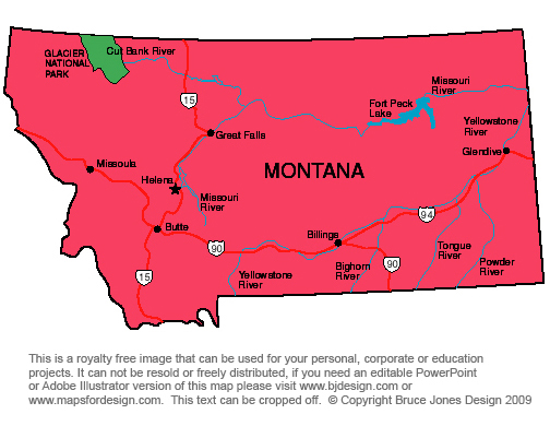missouri river montana map. Montana State Map, capital