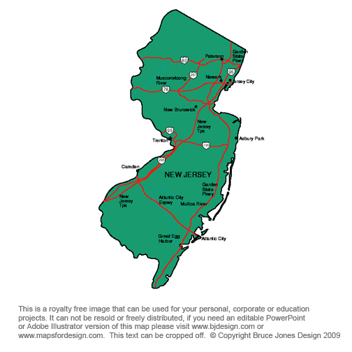 US State Printable Maps Massachusetts To New Jersey Royalty Free - Map of the state of new jersey