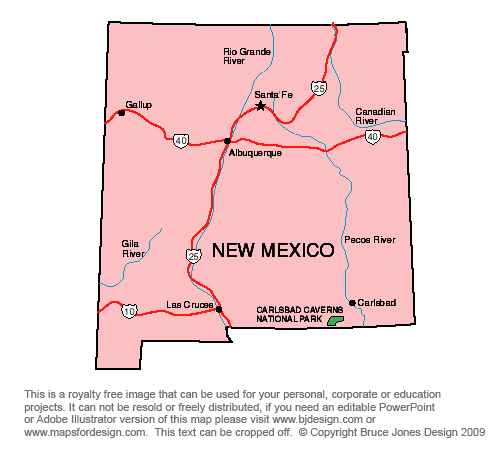 US State Printable Maps Of New Mexico To South Carolina Jpg - New mexico in us map