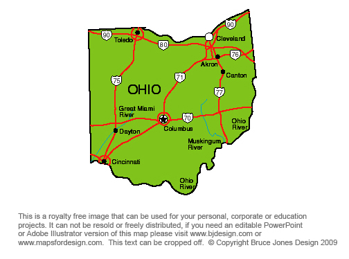 Ohio State Map Printable Printable Maps - Us map of ohio