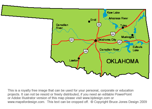 Oklahoma State Map Printable Printable Maps - State map of oklahoma