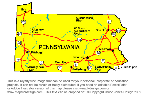 map of pennsylvania state. Pennsylvania State Map, capital Harrisburg, Allentown, Pittsburgh,