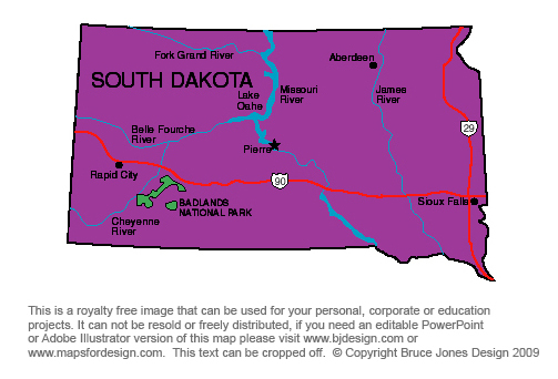 US State Printable Maps South Dakota to Wyoming royalty Free