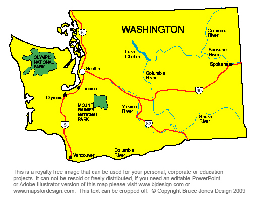 Washington State Capital Map