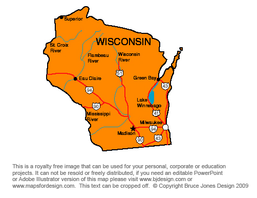 Wisconsin, Madison, Royalty Free jpg map