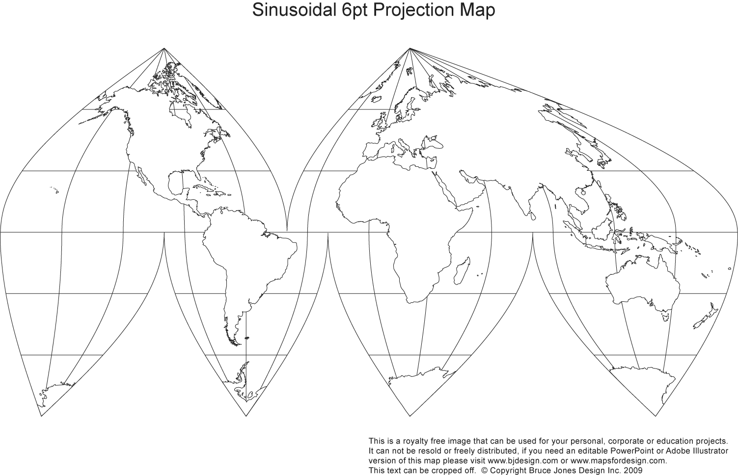 Sinusoidal, Orange Peel World Map, Printable, Blank, Royalty Free,jpg