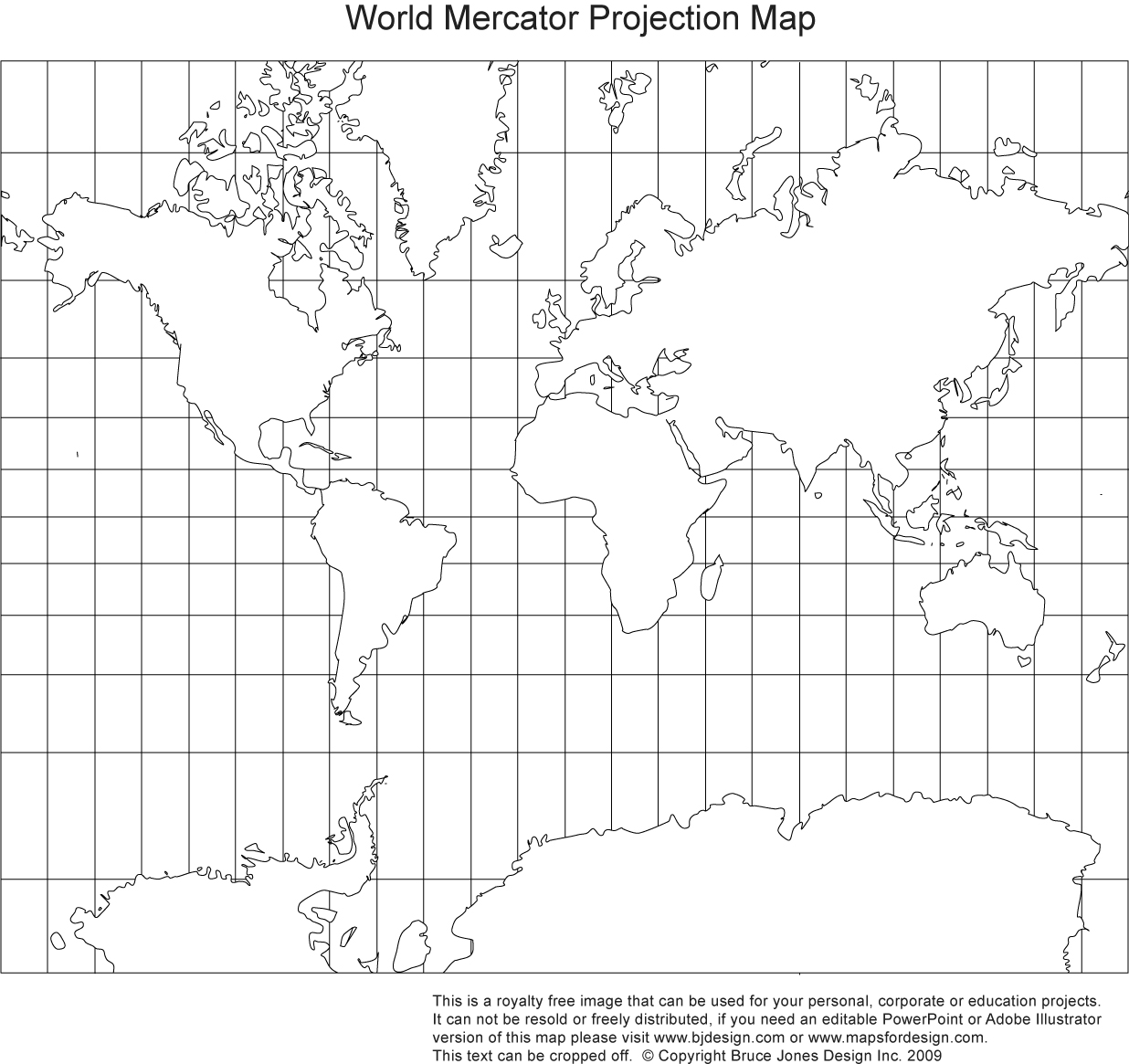 World Mercator Projection, Continent Grid Lines, Printable Blank, Royalty  Free, Jpg