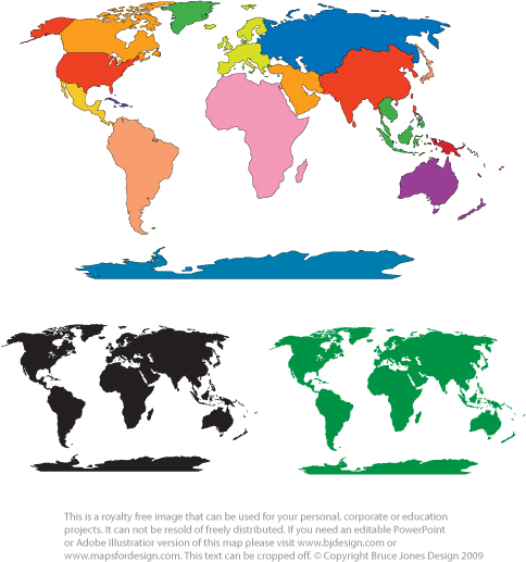 blank map of world continents. World Robinson Projection Map