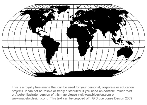Free World Map Projection Mercator And Robinson Printable Blank