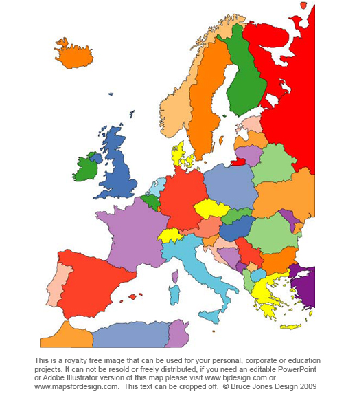 Europe map countries in color, Printable, blank