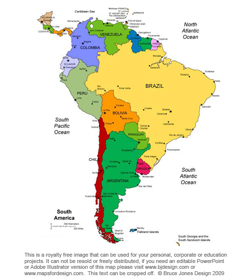 South America continent royalty free, printable, blank, jpg map