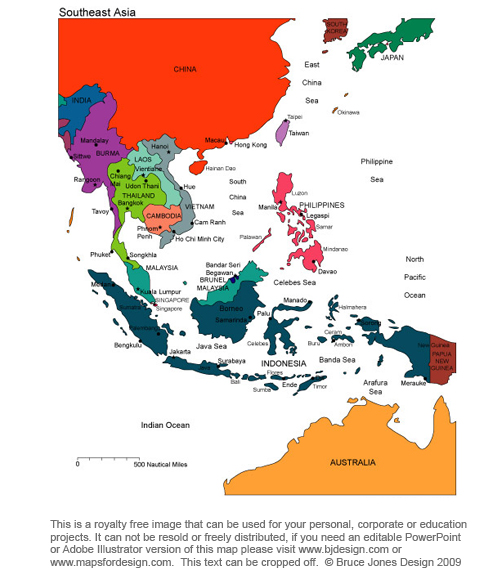 Gorgeous image inside printable map of southeast asia