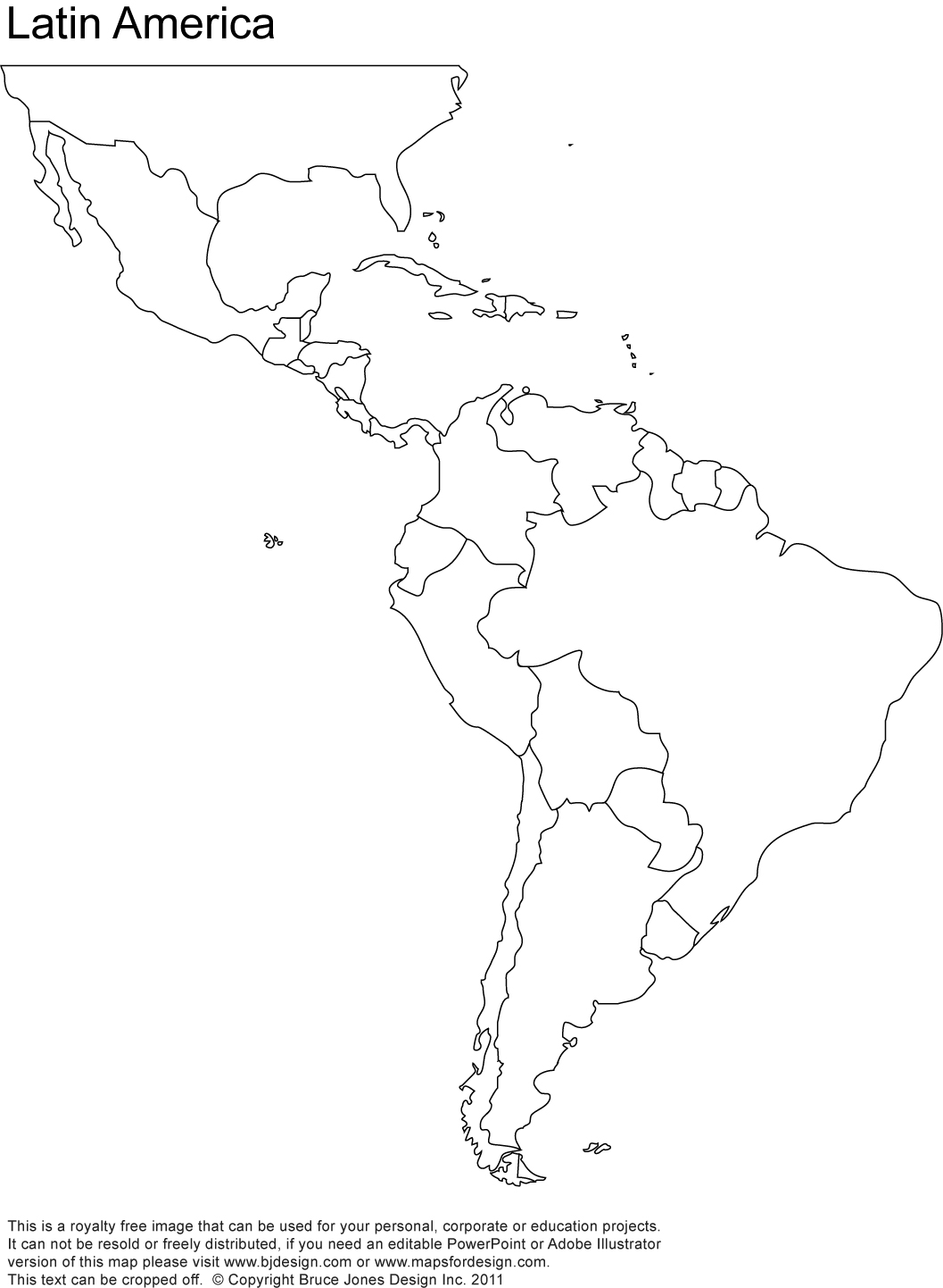 Blank Map Of North America Central America And South America #1
