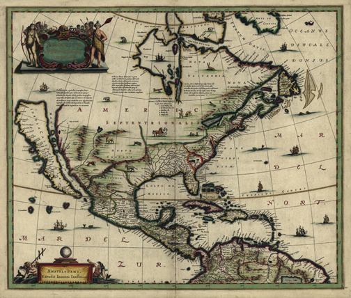 1e06d5c224 Printable antique map. North America 1652 map royalty free jpg
