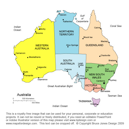 Australia Printable, Blank Maps, Outline Maps • Royalty Free
