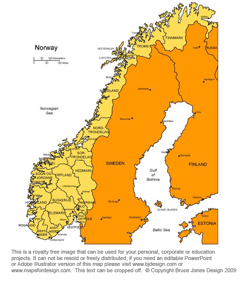 Canny image in scandinavia map printable